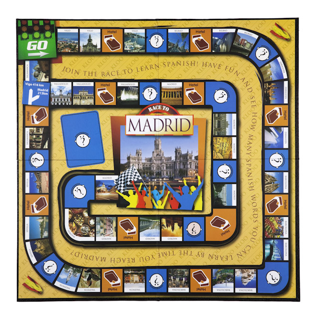 Learn to speak Spanish with KLOO's Race to Madrid Board Game