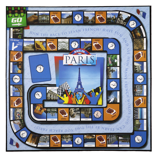 learn French with KLOO's Race to Paris Board Game