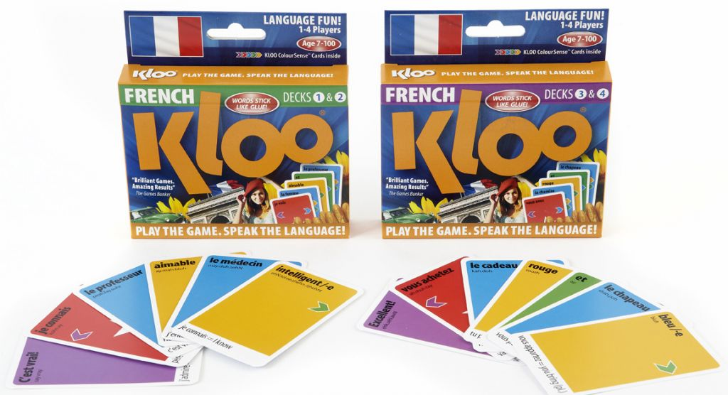 Double deck packs. Play 16 games and learn French.