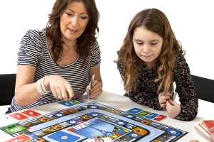 mother teaches child a language with language game